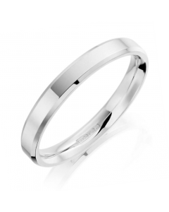 18ct White Gold 3mm Bevelled Edge Wedding Ring By Charles Green