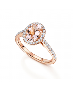 18ct Rose Gold Oval Morganite & Diamond Halo Ring with Diamond Shoulders