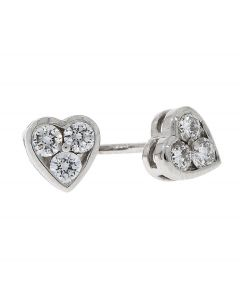 0.25ct Diamond and 18ct White Gold Heart Earrings
