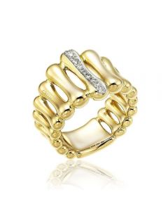 Chimento 18ct Gold Diamond Bamboo Ring
