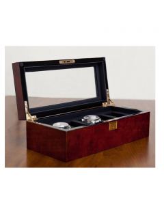 WOLF Savoy Burlwood Brown 5-Piece Watch Box