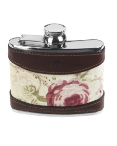 Stainless Steel with Rose Pattern Hip Flask