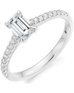 Gemex 18ct White Gold 0.65ct Emerald Cut Engagement Ring