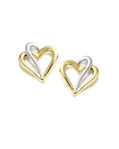 Amore 9ct Yellow and White Gold Heart Stud Earrings