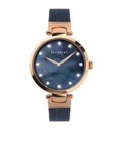 Accurist Ladies Blue and Rose Gold Watch