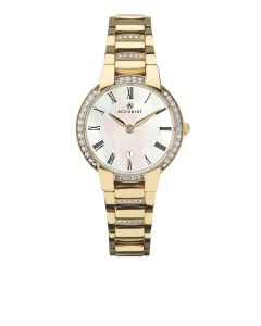 Ladies Accurist Gold Mother Of Pearl Watch