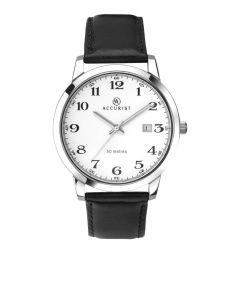 Accurist Men's Black Watch with silver casing and white face