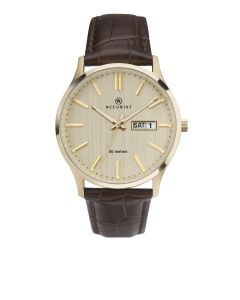 Accurist Men's Classic Watch with rose gold dial and brown strap