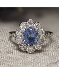 Pre-Owned 18ct White Gold Diamond & Sapphire Cluster Ring