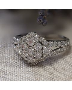 Pre-Owned 18ct White Gold Art Deco Inspired Cluster Ring