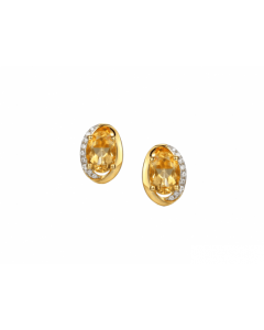 Amore Argento Gold Plated Citrine Stud Earrings