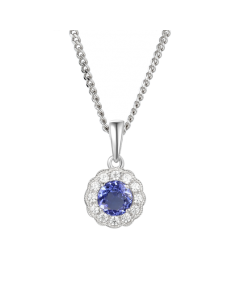Amore Argento Silver Tanzanite Cluster Necklace