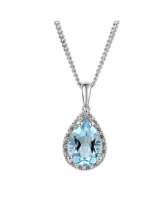 Amore Blue Topaz Teardrop Silver Halo Necklace