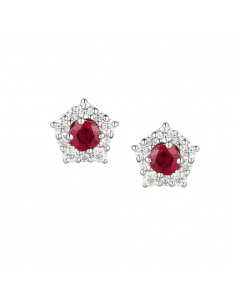 Amore Argento Classic Silver Ruby Cluster Stud Earrings
