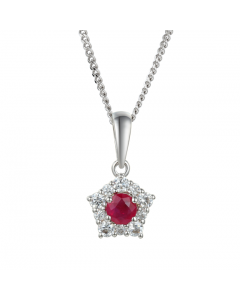 Amore Classic Silver & Ruby Cluster Necklace