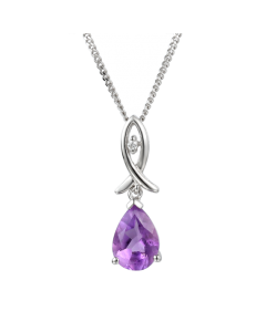 Amore Silver & Amethyst Teardrop Necklace