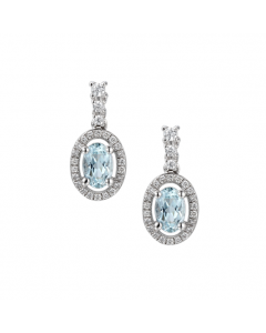 Amore Aregento Silver & Aquamarine Oval Halo Drop Earrings
