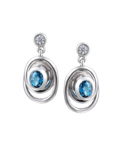 Amore Silver and Blue Topaz Spiral Drop Earrings