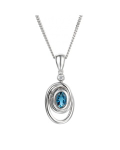 Amore Silver Blue Topaz Spiral Necklace