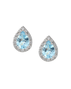 Amore Silver and Blue Topaz Teardrop Halo Stud Earrings