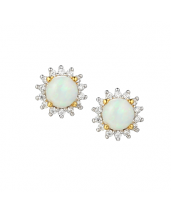 Amore Silver & Opal Flower Cluster Stud Earrings