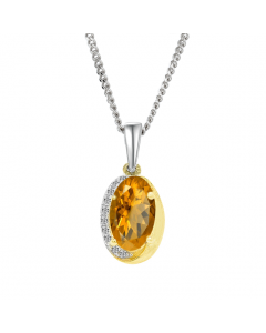 Amore Two Tone Silver Citrine & Cubic Zirconia Necklace