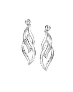 Amore Silver Flame Style Drop Earrings