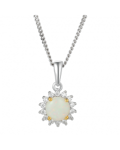 Amore Silver & Opal Flower Cluster Necklace