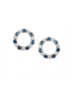 Amore Silver & Blue Sapphire Circle Stud Earrings