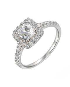 Amore Sterling Silver & Cubic Zirconia Halo Cluster Ring
