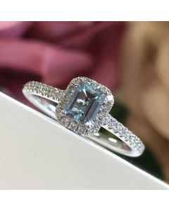 18ct White Gold Aqua-Marine & Diamond Halo Ring