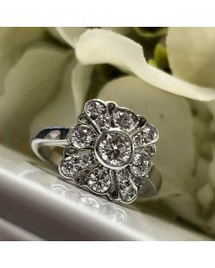 Pre-Owned Art-Deco Design Diamond 1.90ct Cluster Ring