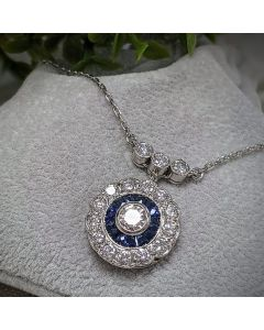 Pre-Owned Platinum and Sapphire Art Deco Necklace
