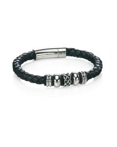 Fred Bennett Braided Leather and Bead Bracelet