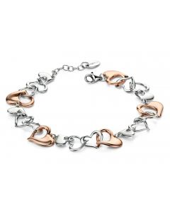 Fiorelli Silver and Rose Gold Heart Bracelet by Nettletons Jewellers.