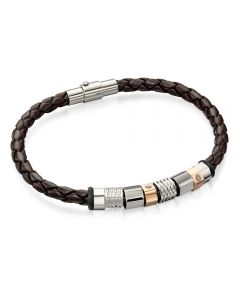 Fred Bennett Brown Leather Beaded Bracelet