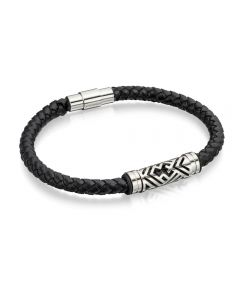 Fred Bennett Plaited Leather Tribal Bracelet