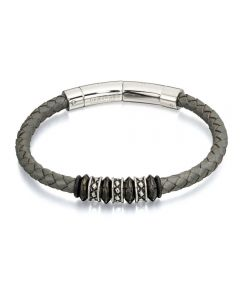 Fred Bennett Plaited Grey Leather and Steel Bracelet