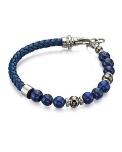 Fred Bennett Blue Leather and Bead Bracelet