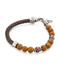Fred Bennett Brown Leather and Bead Bracelet