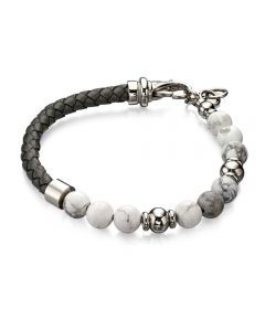 Fred Bennett Grey Leather and Bead Bracelet
