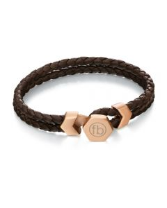 Fred Bennett Brown Leather and Rose Bracelet