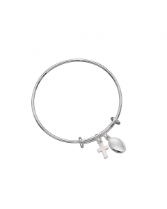 Beginnings Children's Silver Bangle with Cross Charm