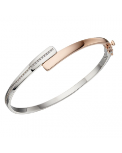 Fiorelli Hinged Asymmetric Silver and Gold Plate Cubic Zirconia Bangle