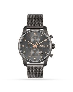 BOSS Watches Charcoal and Rose Gold Men's Skymaster Mesh Chronograph Watch