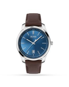BOSS Watches Blue Dial Brown Circuit Men's Strap Watch