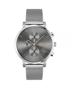 BOSS Watches Men's Grey Dial Mesh Bracelet Watch
