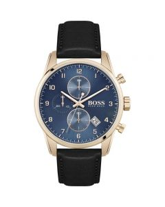 BOSS Watches Men's Blue and Rose Gold Strap Watch