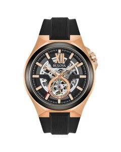 Bulova Black Skeleton Automatic Watch face