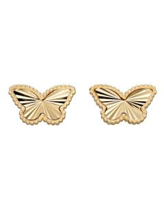 9ct Yellow Gold Butterfly Earring Studs